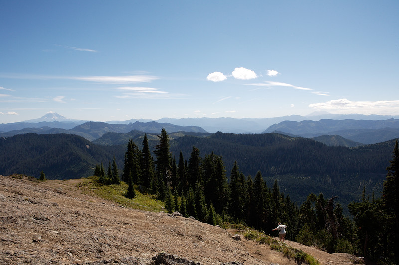 From just below the lookout, Mt Adams (left) and Mt St Helens (right).  Unfortunately, I was shooting in to the sun, so the haze appears worse than it was.