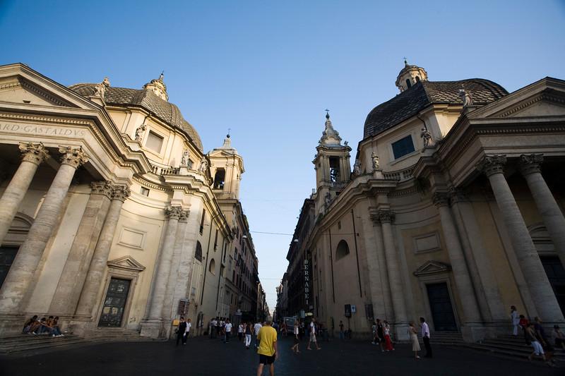 Santa Maria dei Miracoi (right) and di Montesanto (left) churches and Via del Corso in the middle, Rome