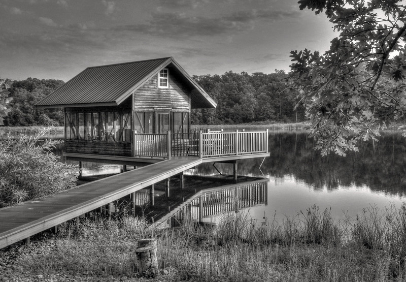 Charles' cabin on his lake near MountainView, MO. Black and white, HDR.