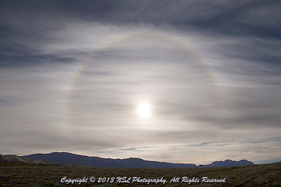 Solar Halo at Cape Hofmann Halvo, Scoresby Sund, Greenland