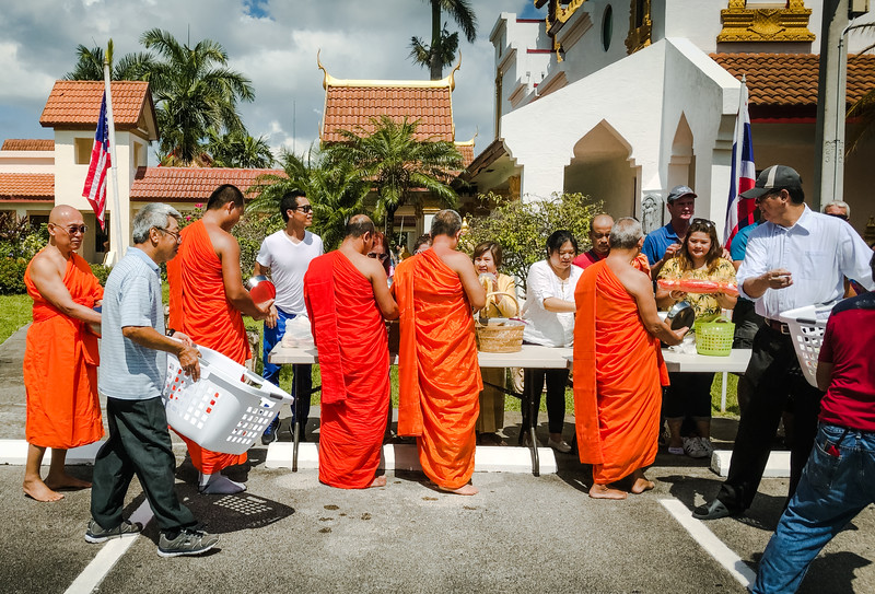 Monks at Thai Food Festival at Wat Buddharangsi Buddhist Temple of Miami 2018