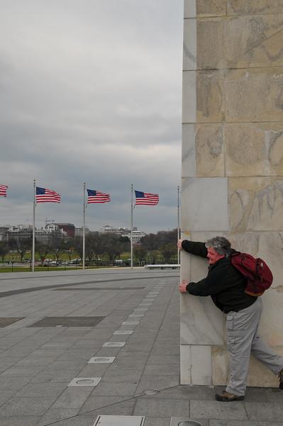 Very windy at Washington Monument