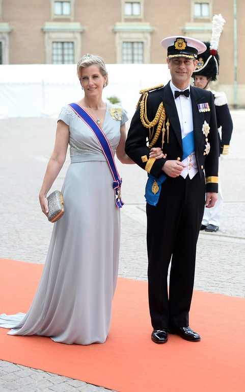 . Britain\'s Prince Edward (R), Earl of Wessex, and his wife, Britain\'s Sophie, Countess of Wessex, arrive for the wedding of Sweden\'s Crown Prince Carl Philip and Sofia Hellqvist at the Royal Chapel at Stockholm Palace on June 13, 2015.  AFP PHOTO / TT NEWS AGENCY / JONAS EKSTROMER/AFP/Getty Images