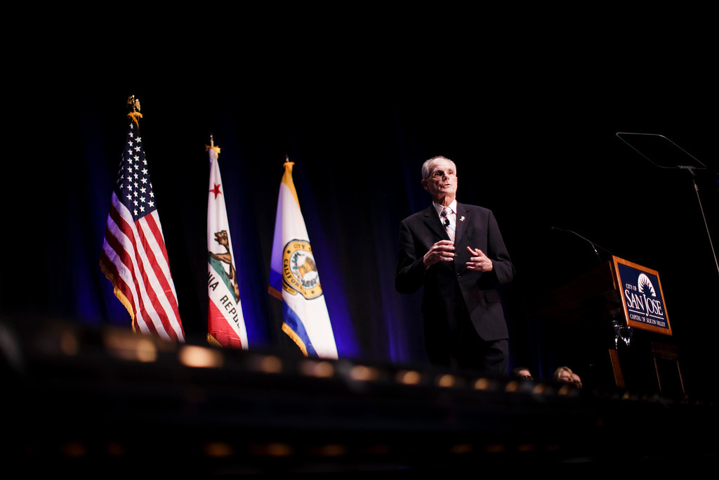 . San Jose Mayor Chuck Reed delivers his annual state of the city speech at the San Jose Civic Auditorium on Feb. 7, 2013. (Dai Sugano/Staff)