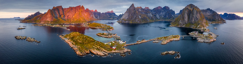 Reine Aerial 3 panorama Drone Lofoten landscape photography sunrise islands hamnøy.jpg