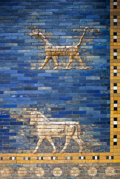Bas-relief of sirrush (dragon) and auroch, Ishtar Gate (Babylon), Pergamon Museum, Berlin, Germany