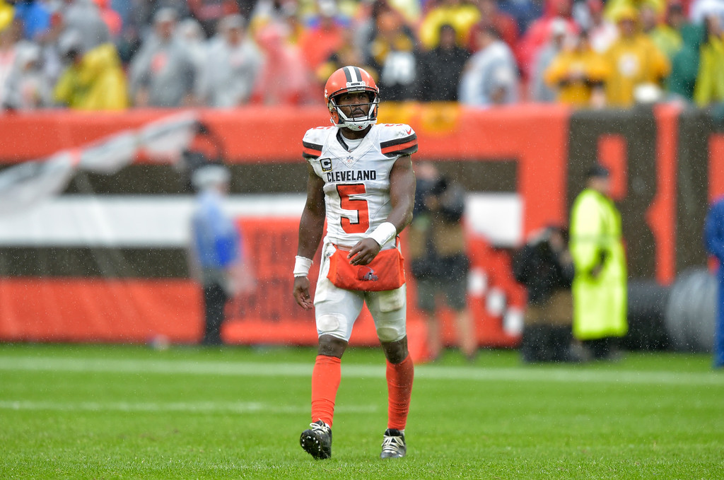 . Cleveland Browns quarterback Tyrod Taylor looks up after an incomplete pass during the second half of an NFL football game against the Pittsburgh Steelers, Sunday, Sept. 9, 2018, in Cleveland. (AP Photo/David Richard)