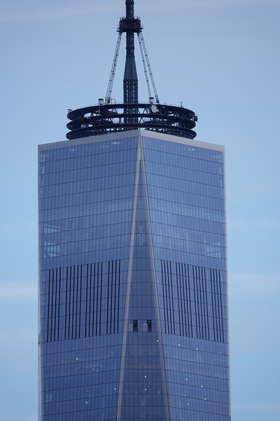 Close-up of the Freedom Tower from the Brooklyn Bridge.