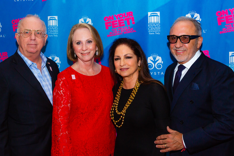 """Gloria (second from right) and Emilio Estefan (right) pose for a photo with Jim and Judith Mitchell, CEO of the Kravis Center, before the opening of their musical """"ON YOUR FEET!"""" (The story of Emilio and Gloria Estefan) at the Kravis Center in West Palm Beach on Tuesday, January 8, 2019. [JOSEPH FORZANO/palmbeachdailynews.com]"""