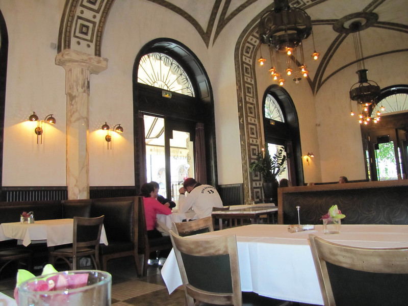 "39-Belcanto Restaurant across from the Opera. I had been sitting at the table at the left, but ""Der Bomber, 13"" and his party were seated next to me. They were loud and chain-smoked."