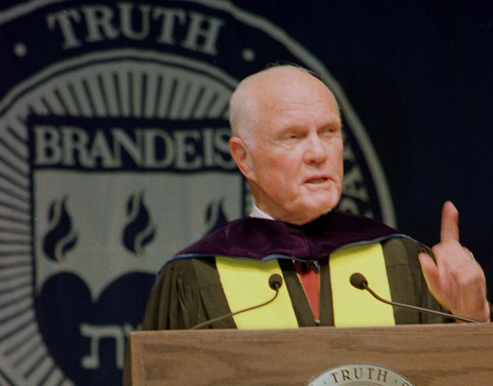 . U.S. Senator John Glenn, D-Ohio, former Mercury and Space Shuttle astronaut, gestures while delivering the keynote address during commencement excercises at Brandeis University Sunday, May 22, 1999 in Waltham, Mass. In his address, Glenn brought up various twentieth-century discoveries and encouraged the graduating students to be creative and bring their own contributions to society. (AP Photo/Lisa Poole)