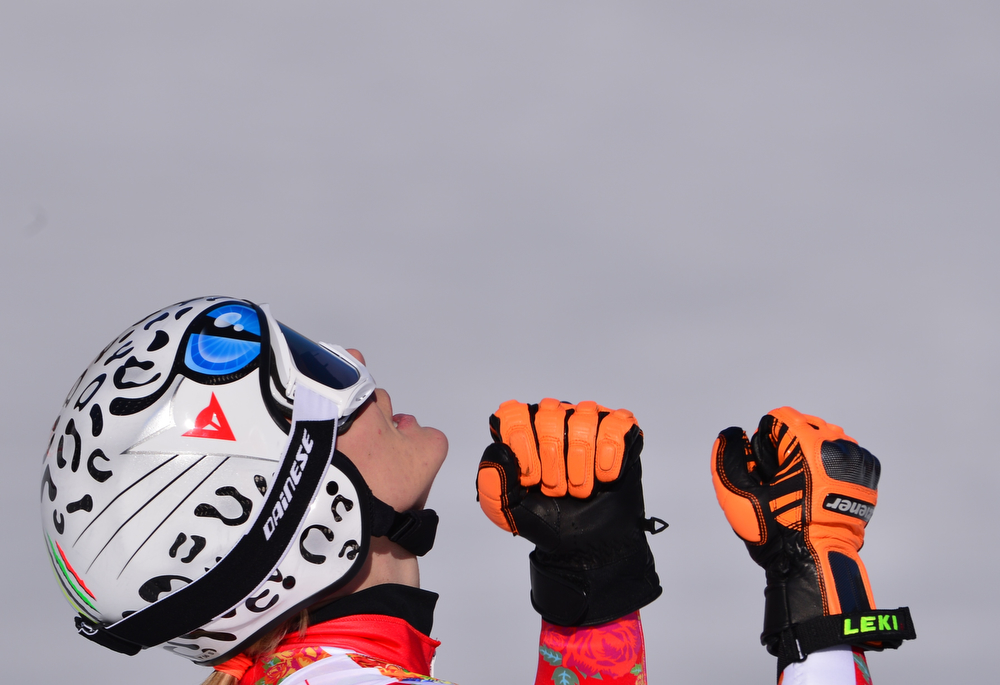 . Germany\'s Maria Hoefl-Riesch reacts after the Women\'s Alpine Skiing Super-G at the Rosa Khutor Alpine Center during the Sochi Winter Olympics on February 15, 2014.      (DIMITAR DILKOFF/AFP/Getty Images)