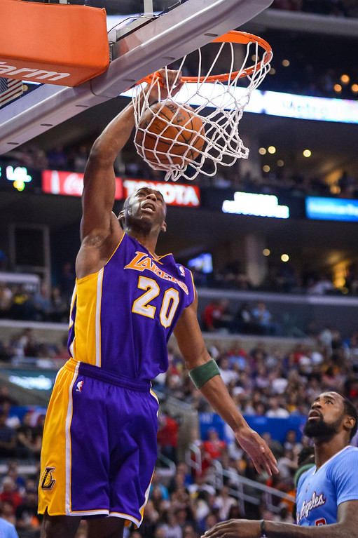 . Lakers� Jodie Meeks slams in two points during game action at Staples Center Sunday April 6, 2014. Clippers defeated the Lakers 120-97.  ( Photo by David Crane/Los Angeles Daily News )