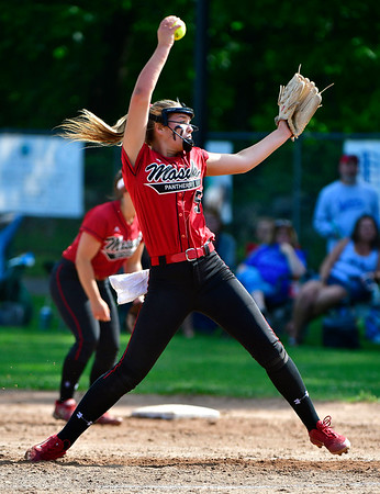 5/31/2019 Mike Orazzi | Staff Masuk's Samantha Schiebe (5) in the Class L Quarterfinals softball game on Friday.