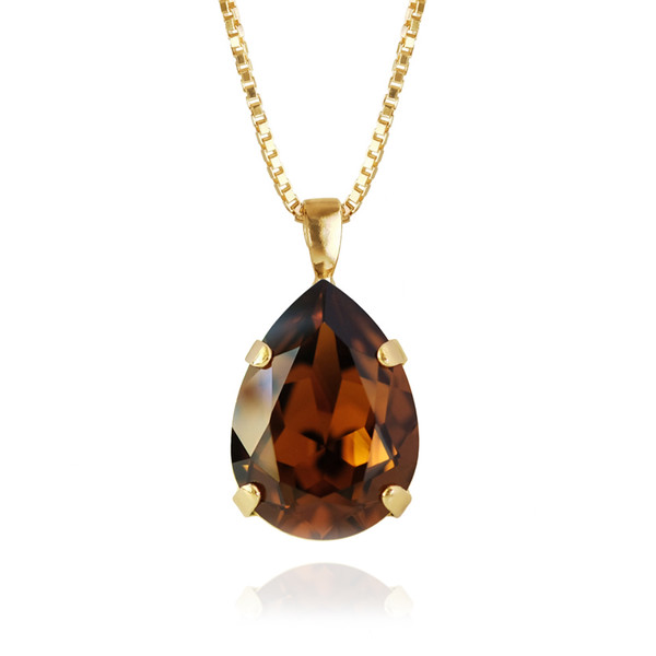Classic Drop Necklace / Smoked Topaz Gold