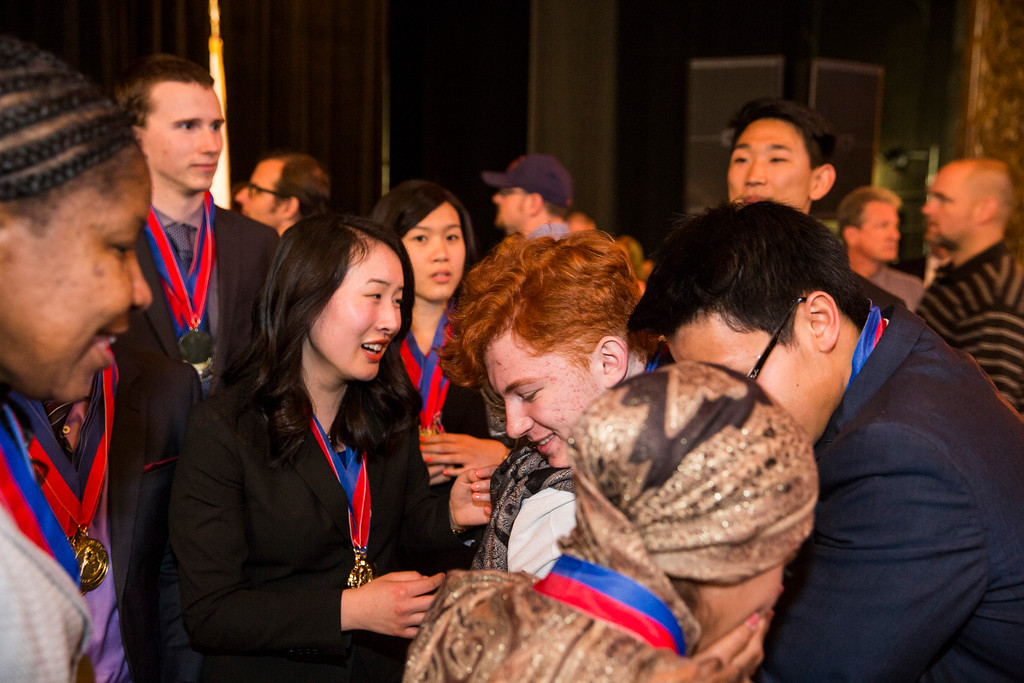 . 1st Place team Members of the 35th annual California Academic Decathlon from El Camino Real Charter High School\'s hug one another after winning, at the 35th annual California Academic Decathlon in Sacramento, California, U.S., on Sunday, March 23 2014. Ken James/LA Daily News