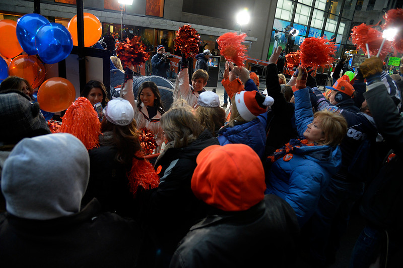 . Denver Bronco cheerleaders lead the crowd during the Today Show on January 31, 2014, New York, NY. (Photo By Joe Amon/The Denver Post)