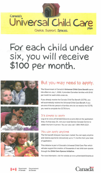 Winnipeg Free Press July 29, 2006, Canada's Universal Child Care Plan advertisement.jpg
