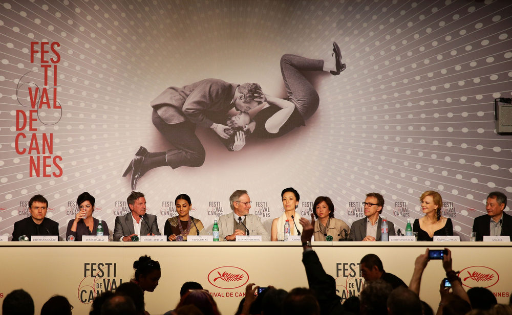 . Cristian Mungiu, Lynne Ramsay, Daniel Auteuil, Vidya Balan, Steven Spielberg, Naomi Kawase, Christoph Waltz, Niciole Kidman and Ang Lee attend the Jury Press Conference during the 66th Annual Cannes Film Festival at the Palais des Festivals on May 15, 2013 in Cannes, France.  (Photo by Vittorio Zunino Celotto/Getty Images)