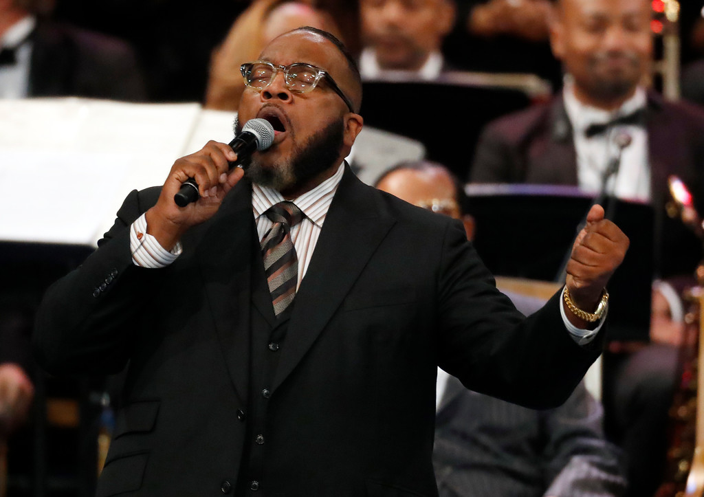 . Bishop Marvin Sapp performs during the funeral service for Aretha Franklin at Greater Grace Temple, Friday, Aug. 31, 2018, in Detroit. Franklin died Aug. 16, 2018 of pancreatic cancer at the age of 76. (AP Photo/Paul Sancya)