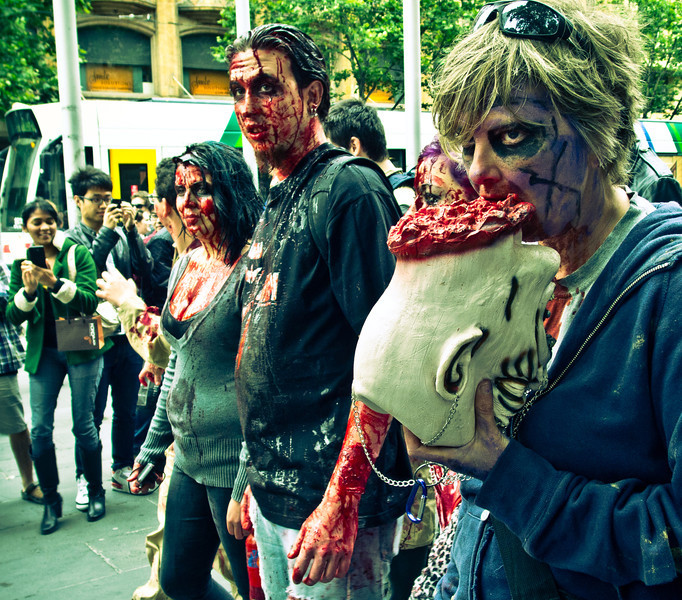 Bloody and hungry zombies on Swanston Street