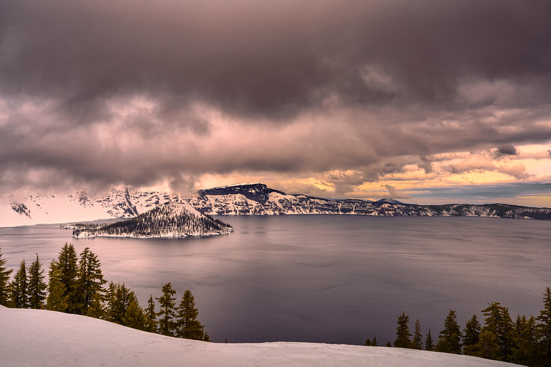 Crater Lake - Stormy Sky Sunset