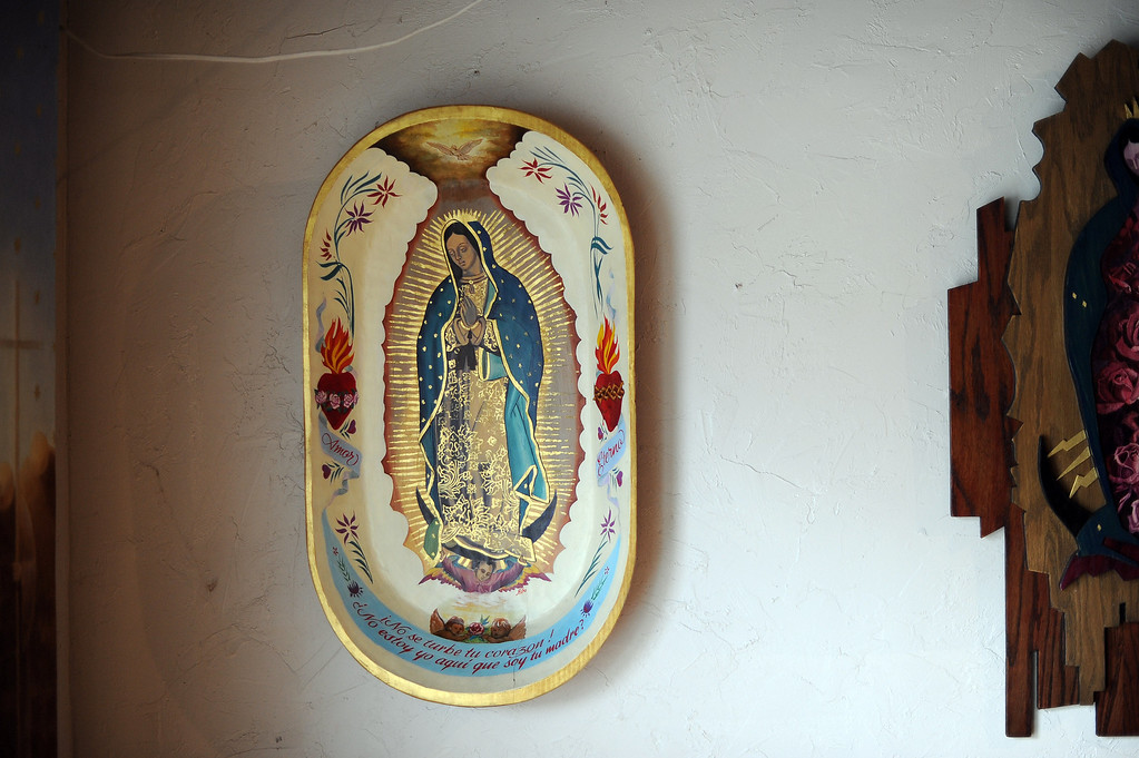 """. Mission Hills Artist Lalo Garcia is a devoted \""""Guadalupano\"""" who features the Catholic icon Our Lady of Guadalupe in much of his artwork."""