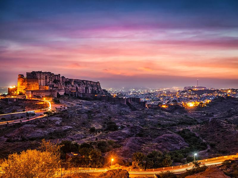 Mehrangarh fort in twilight. Jodhpur, India