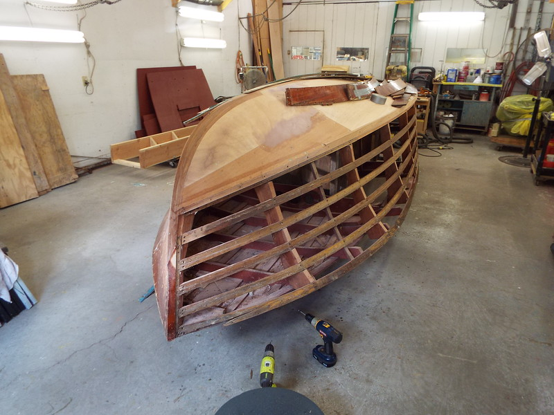 Starboard chine cap installed with the starboard side planks removed.