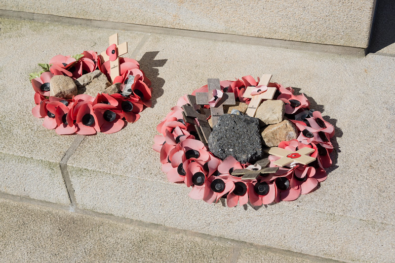 Faded wreaths at the foot of the Royal Engineers' monument