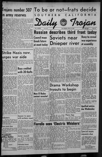 Daily Trojan, Vol. 34, No. 89, February 22, 1943