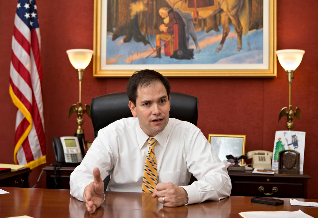 . In this Feb. 7, 2013 photo, Sen. Marco Rubio, R-Fla., speaks with The Associated Press in his Capitol Hill office in Washington.  (AP Photo/J. Scott Applewhite)
