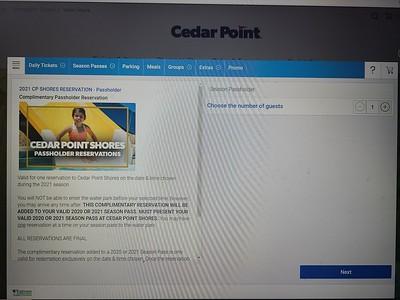 Cedar Fair Reservation Details 2021