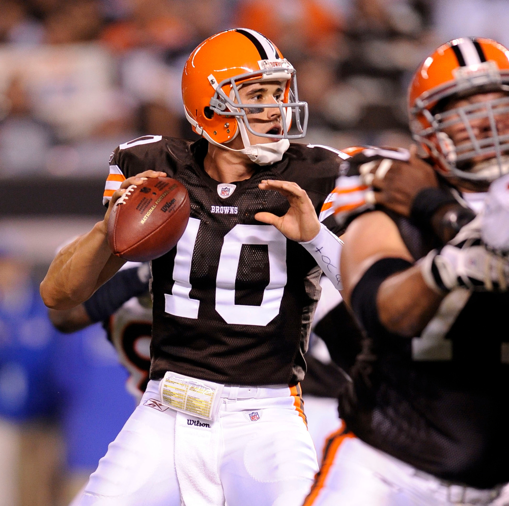 . Brady Quinn, Notre Dame Selected 22nd overall by the Browns in 2007 Quinn,  whose surprising slide down the first round in 2007 was the story of the draft, has struggled during his time in the NFL. In 20 starts, Quinn has amassed a 4-16 record, has thrown 12 touchdowns and 17 interceptions, and his career QB rating is a pedestrian 64.4. GRADE: F. Will continue to get shots in the NFL, and will likely continue to disappoint. (John Leyba/The Denver Post)