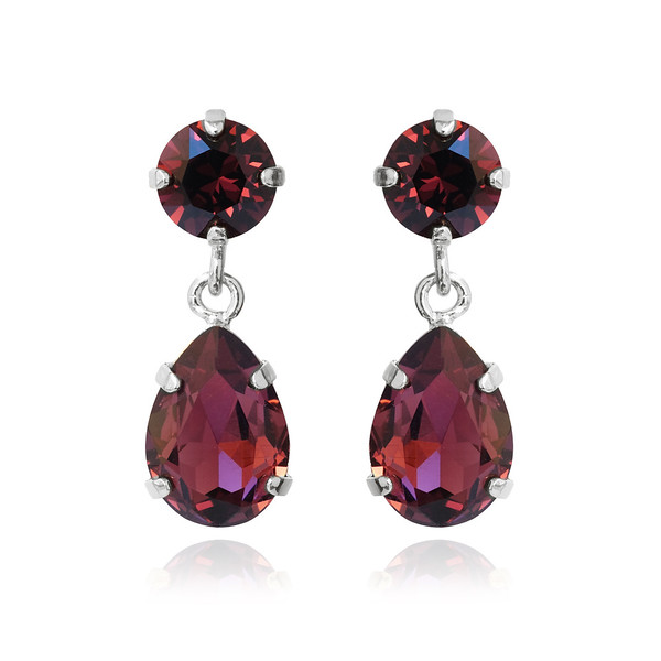 Mini Drop Earrings / Burgundy / Rhodium