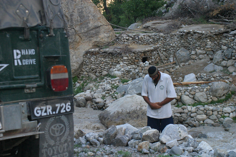 Adeel never missed his prayers.  Here is is praying before we started back on the jeeps.