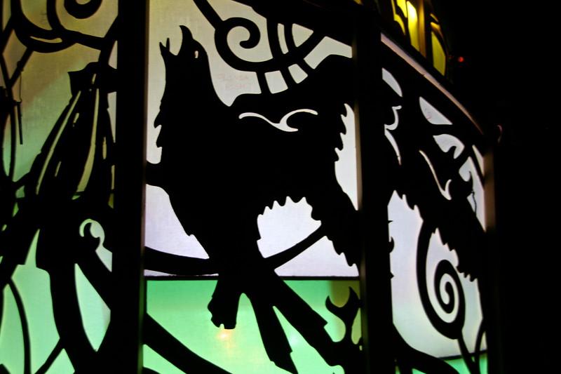 Illuminated crow on Temple of Moon