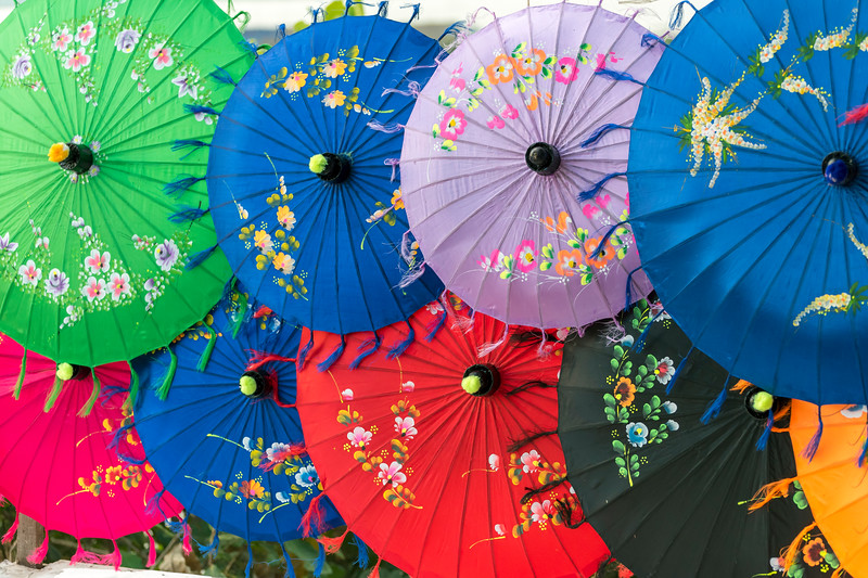 Colourful umbrellas, Burma