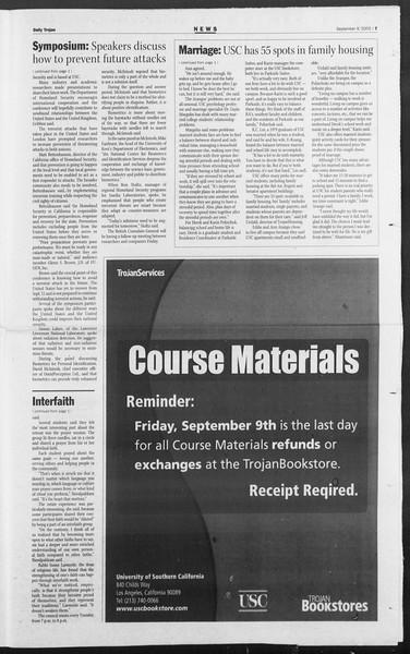 Daily Trojan, Vol. 156, No. 13, September 09, 2005
