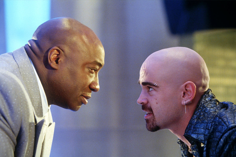". In this undated movie still provided by Twentieth Century Fox, the crime lord Kingpin, played by Michael Clarke Duncan, left, hires Bullseye, played by Colin Farrell, in a scene from the movie ""Daredevil\"", based on a popular comic book published by Marvel. Michael Clarke Duncan ranked as Google\'s fourth most searched trending person of 2012. (AP Photo/20th Century Fox, Zade Rosenthal)"