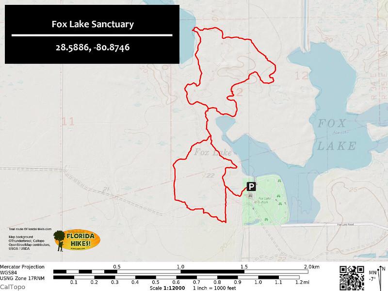 Fox Lake Sanctuary Hiking Trail Map