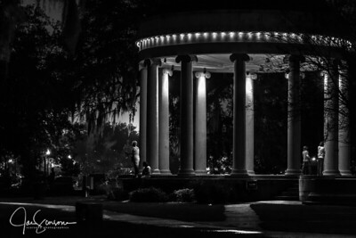 City Park at Night in B&W 12-26-2015