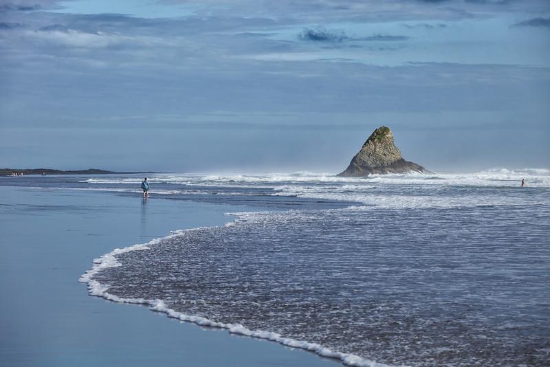"Paratahi Island at Karekere Beach, ""The child that stands apart"""