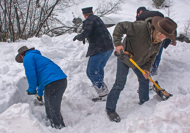 February 16, 2019.  The D&S crew digs out a spot in the deep snow for the photographers.
