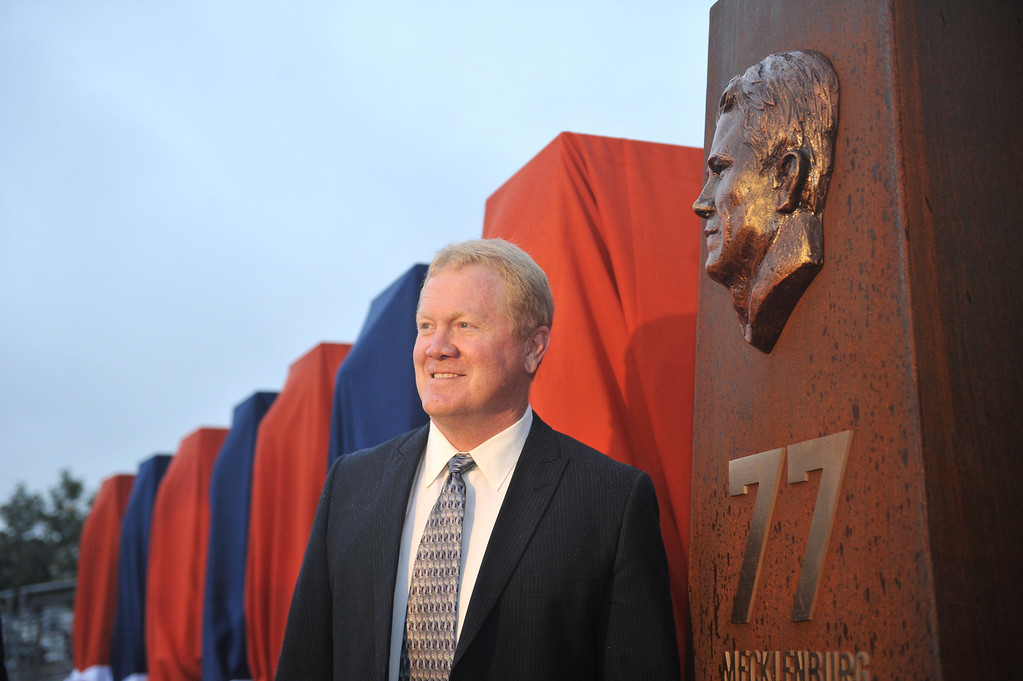 . DENVER, CO - September 27 :  Linebacker Karl Mecklenburg unveiled his sculpture at the Denver Broncos Ring of Fame Plaza in Sports Authority Field at Mile High. Denver, Colorado. September 27, 2013. The Plaza features pillars honoring each of the 24 players in the Broncos� Ring of Fame. (Photo by Hyoung Chang/The Denver Post)
