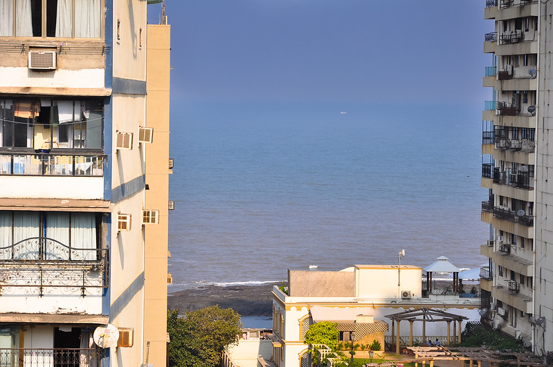 View of the Arabian Sea from outside our room at the Regency in Mumbai