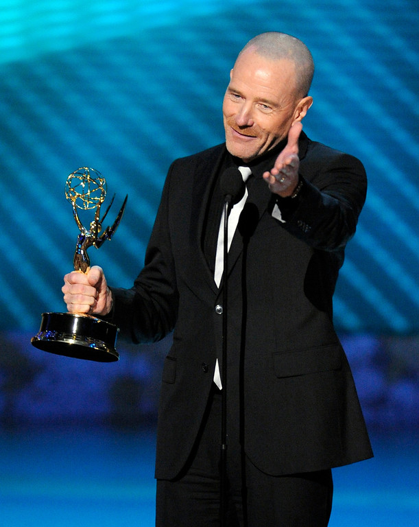 """. Bryan Cranston accepts the award for outstanding lead actor in a drama series for his work on \""""Breaking Bad\"""" at the 60th Primetime Emmy Awards Sunday, Sept. 21, 2008, in Los Angeles. (AP Photo/Mark J. Terrill)"""