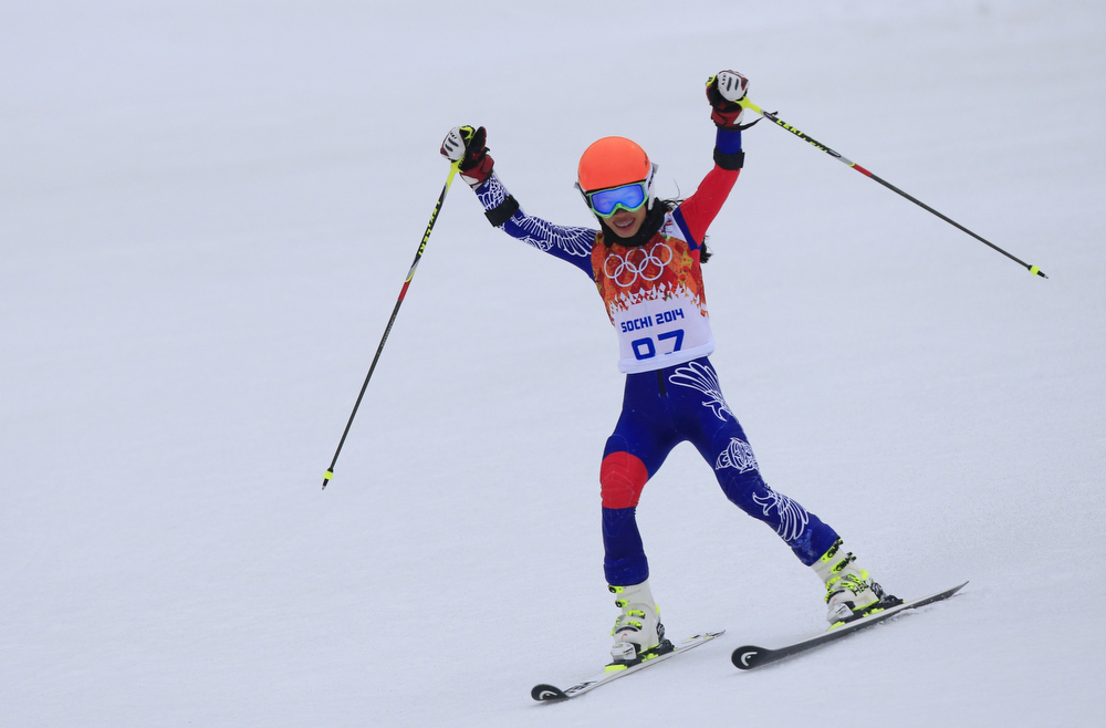 . Thailand\'s Vanessa Vanakorn reacts after the Women\'s Alpine Skiing Giant Slalom Run 2 at the Rosa Khutor Alpine Center during the Sochi Winter Olympics on February 18, 2014. ALEXANDER KLEIN/AFP/Getty Images