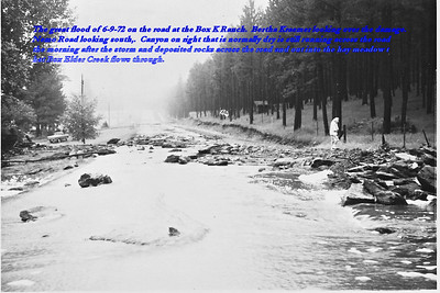 The great flood of 6/9/72 on the road at the Box K Ranch.  Bertha Kraemer looking over the damage.  Nemo Road looking south.  Canyon on right that is normally dry is running across the road the morning after the storm and deposited rocks across the road and out into the hay meadow that Box Elder Creek flows through.