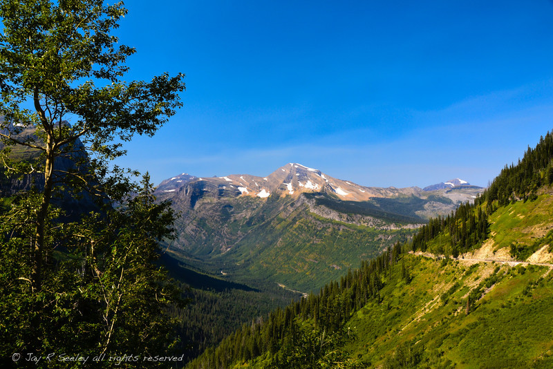 Valley on the west side of Logan pass.  The road to the right is the Going to the Sun road.